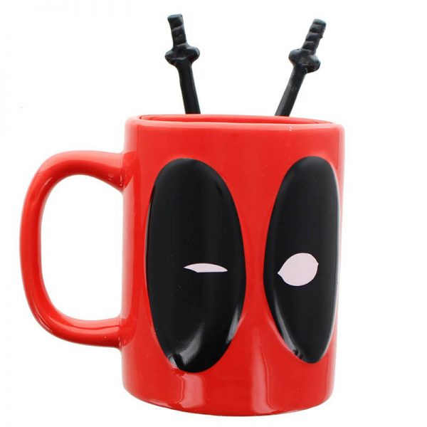 Deadpool Coffee Mug With Sword Stirring Spoons