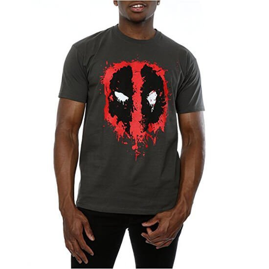 Deadpool Splat Face T-Shirt Grey