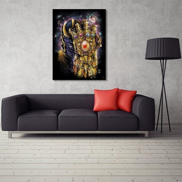 Marvel Thanos Gauntlet Poster On Wall