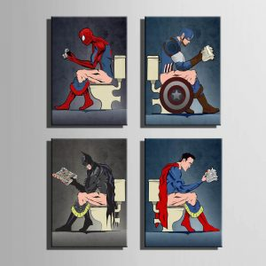 Funny Superhero Toilet 4 Piece Canvas