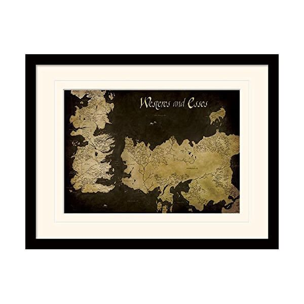Game of Thrones Westeros and Essos Framed Map