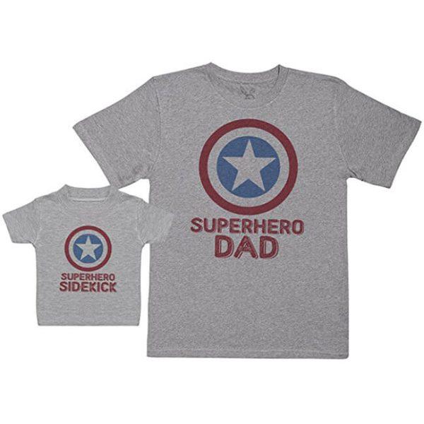 Superhero Dad Superhero Sidekick T-Shirt Set Grey