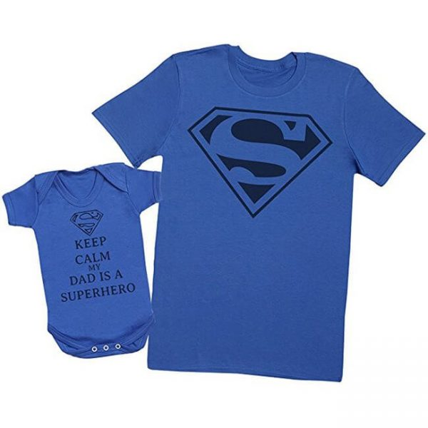 Superman Keep Calm My Dad Is A Superhero Matching Father Baby Set