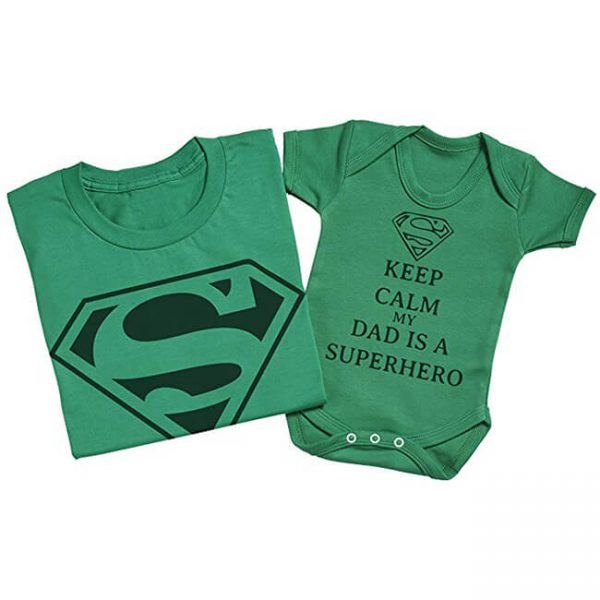 Superman Keep Calm My Dad Is A Superhero Matching Father Baby Set Green