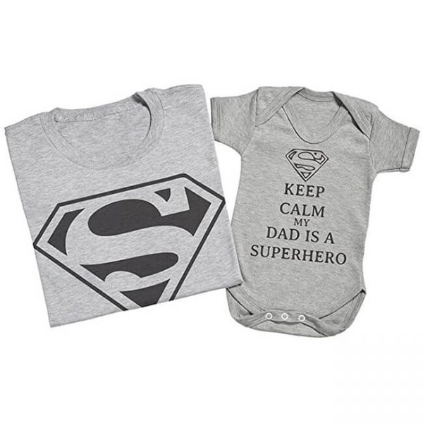 Superman Keep Calm My Dad Is A Superhero Matching Father Baby Set Grey