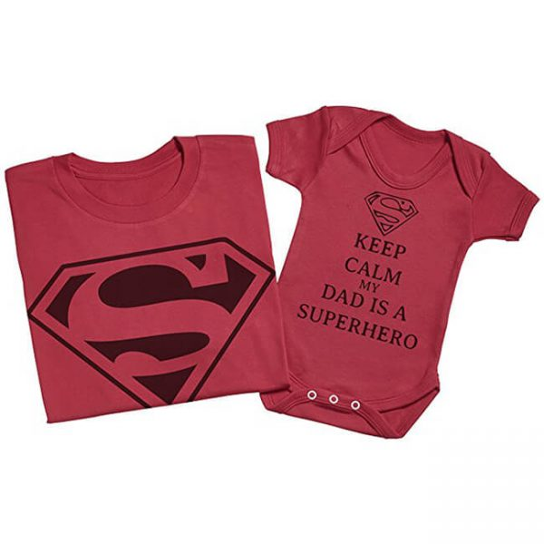Superman Keep Calm My Dad Is A Superhero Matching Father Baby Set Red