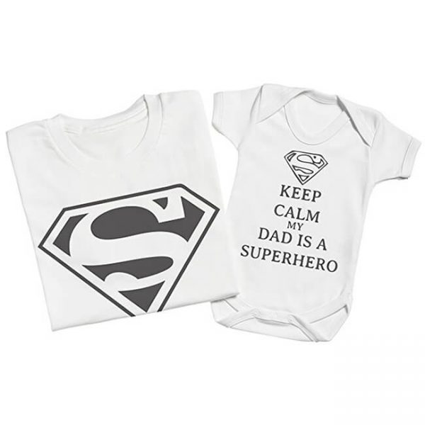 Superman Keep Calm My Dad Is A Superhero Matching Father Baby Set White